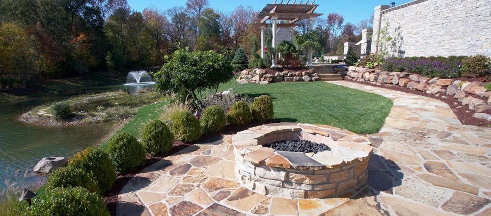 Outdoor fire pit and gazebo.