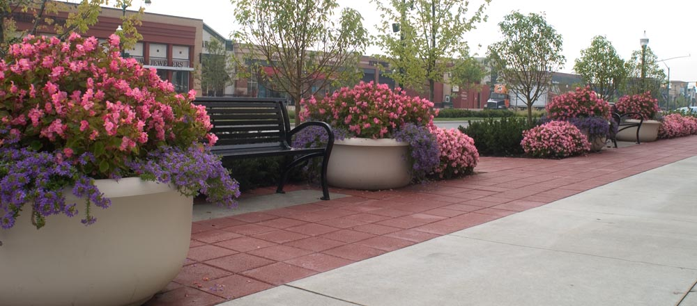 Potted plants and flowers next to benches outside commercial building.