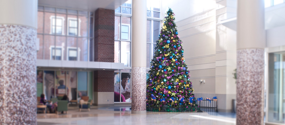 30 foot Christmas tree at Riley Hospital.