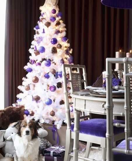 15 Non Traditional Christmas Tree Ideas: White-christmas-purple-blue-tree-decorated-non-traditional